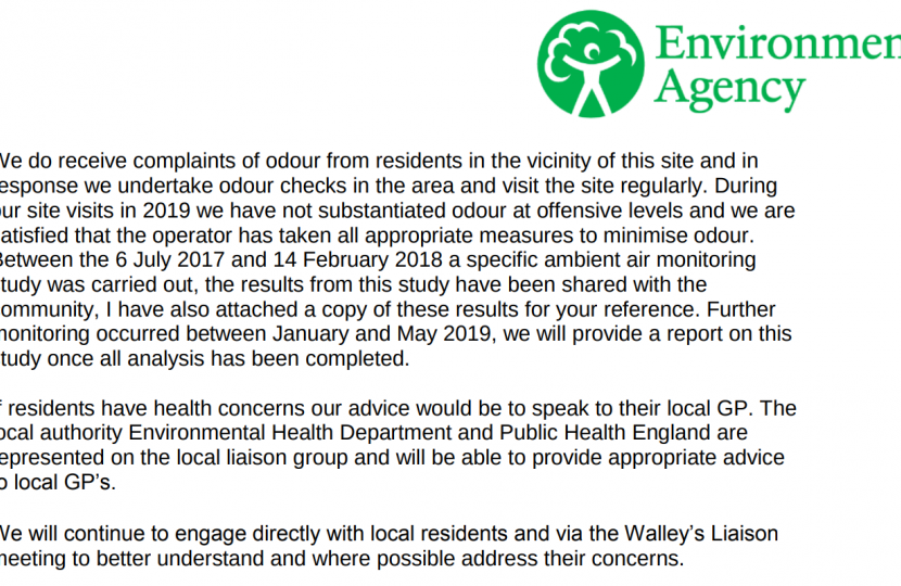 Screenshot of part of the Environment Agency's response
