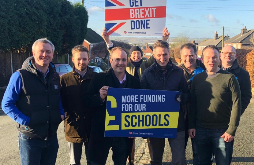 Education Secretary Gavin Williamson with Newcastle-under-Lyme campaigners