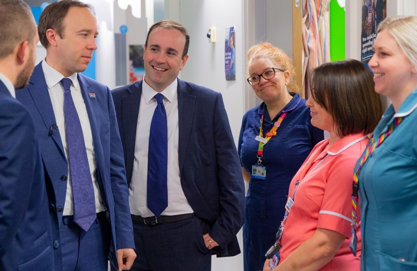 Health Secretary Matt Hancock with staff at Royal Stoke hospital